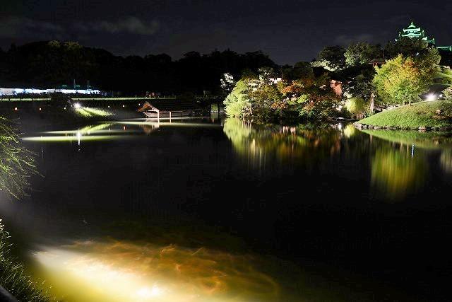 花火後の後楽園の幻想庭園2