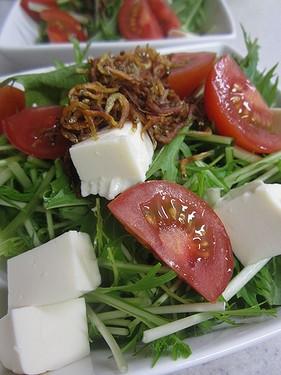 20140520 水菜と豆腐のじゃこサラダ (1)
