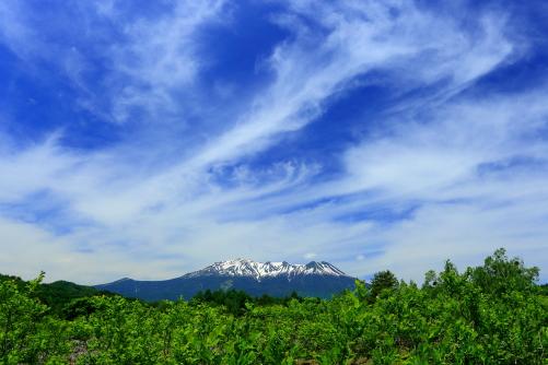 若葉と雲の彩る霊峰御岳