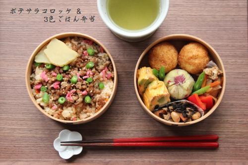 ポテサラコロッケ&3色ごはん弁当4