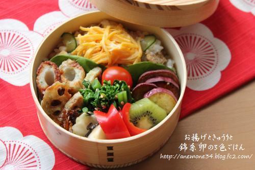 お揚げときゅうりと錦糸卵の3色ごはん1
