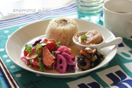 紫玉ねぎと鮭のマリネサラダ1