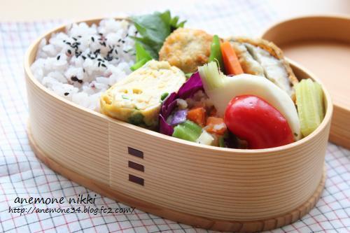 椎茸とカマンベールのフライ弁当1