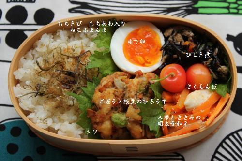 ごぼうと枝豆のひろうす弁当1