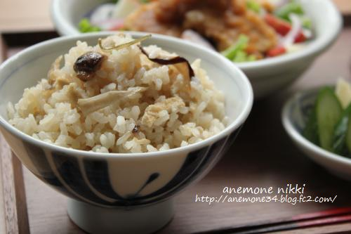 塩麹きのこ炊き込みご飯&豆腐ステーキ3