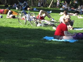 公園の芝生で憩う人々