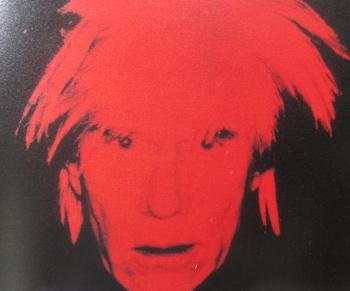赤インクによるシルク版画自画像