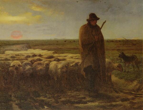 ミレー 夕暮れに羊を連れ帰る羊飼い