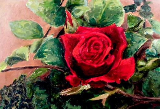 2 14.8.25赤いバラ・木用絵の具CIMG1166 (1)