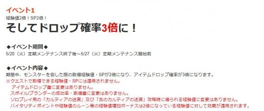 5/20~ 経験SP2倍&ドロップ3倍イベ その1