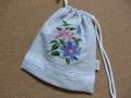 刺繍入り巾着(クレマチス)1