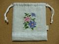 刺繍入り巾着(クレマチス)2