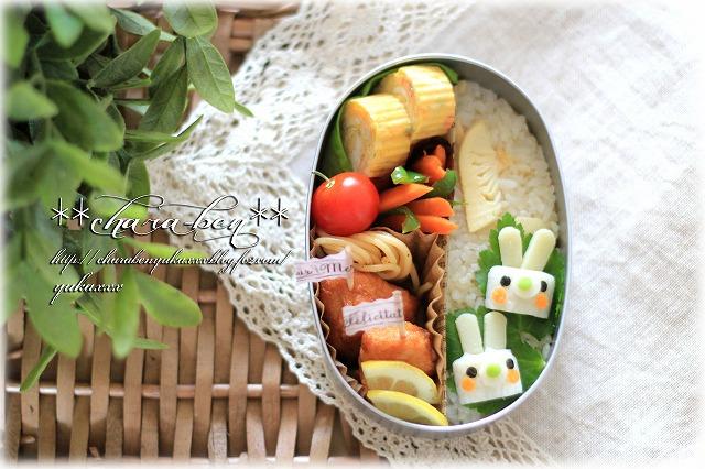 竹輪でうさぎのお弁当2