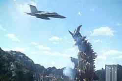 ダン隊員の戦闘機がべムラスを攻撃