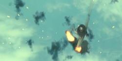 片翼をもがれて撃墜されていく零戦