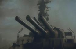迎撃体制に入る戦艦大和