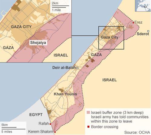 ガザ地図BBC