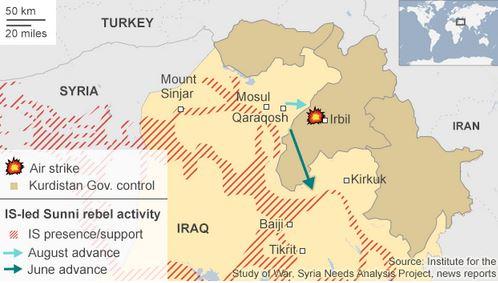 米国のイラク北部空爆8月8日BBC