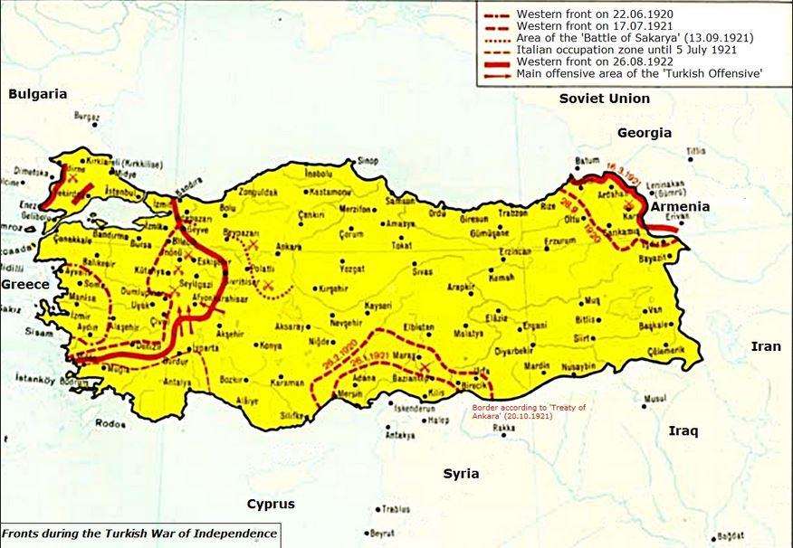 トルコ独立戦争の際の戦線地図