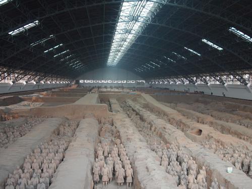 始皇帝陵の一角にある兵馬俑