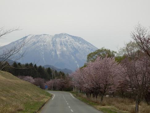 黒姫山をバックに