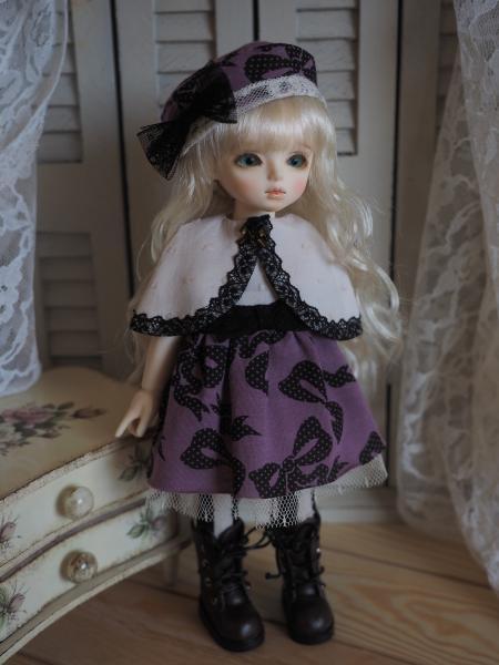 幼SD 「春のお散歩」 紫に黒リボン 1
