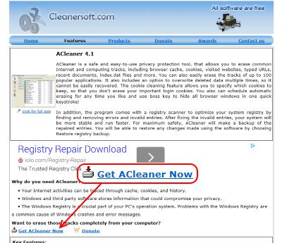 ACleaner ダウンロードページ