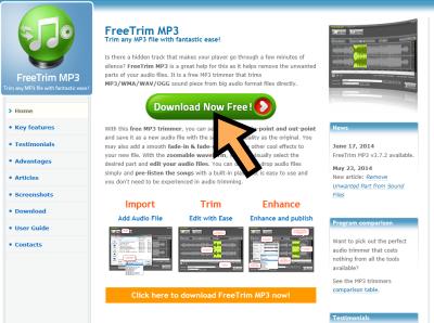 FreeTrim MP3 ダウンロードページ