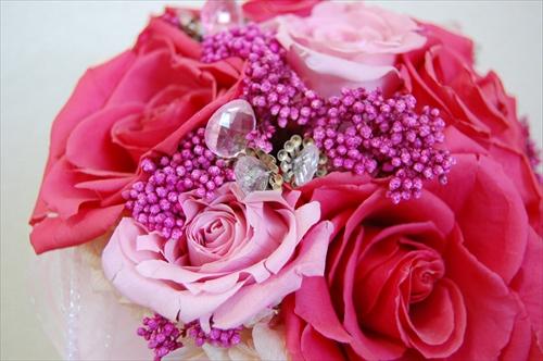 【ブーケ】濃淡ピンクのブーケアップ
