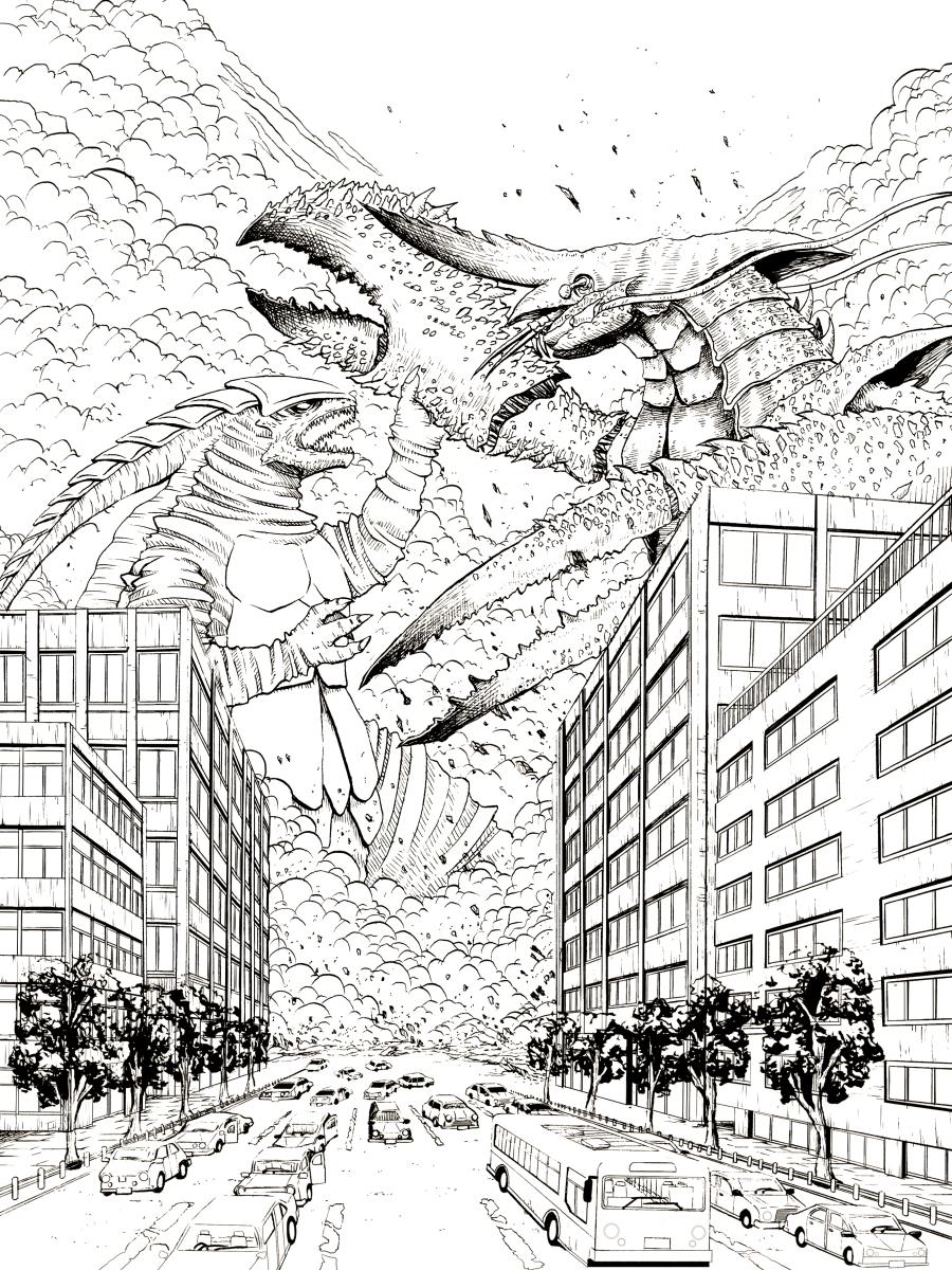 怪獣対決線画