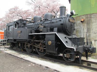 若桜駅の蒸気機関車