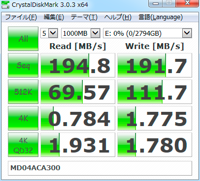 【CrystalDiskMark 3.0.3b】MD04ACA300
