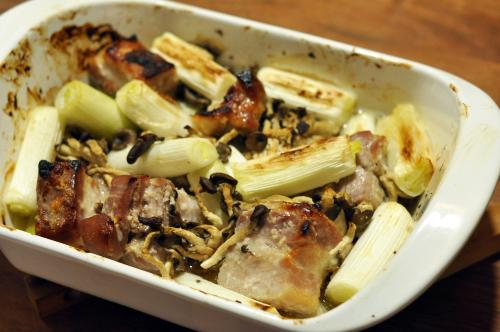 豚肉とネギとひらたけの塩麹ロースト