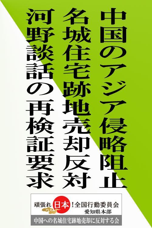 街宣 頑張れ 署名 中国 河野 売却 黄緑斜め