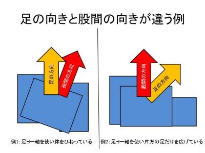 足の向きと股間の向きが違う例