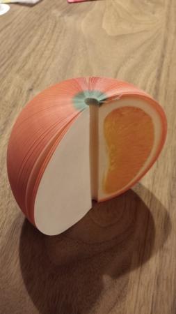 面白いフルーツメモ帳立体的な果物になります。