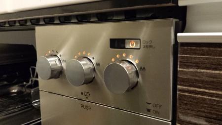 パロマクレアPD-900WV-60GVの火力調整ボタンの使用時写真