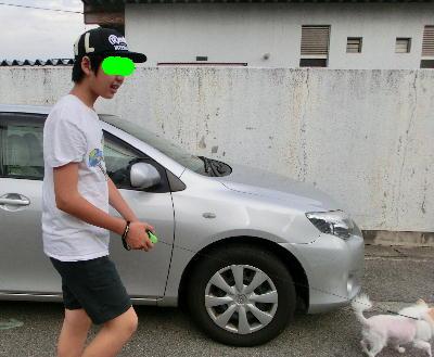 140813-甥1号銀ちゃんと散歩-3