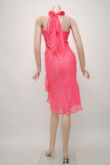 花ホルターネック ミディアムドレス