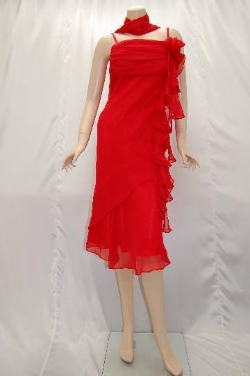 花サイドフリルシフォン ミディアムドレス