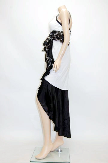 チェーンスカーフ柄リボン ミディアムドレス