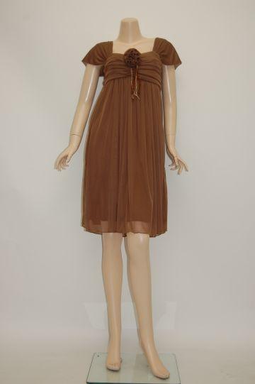 コサージュ付きチュールギャザー ミディアムドレス