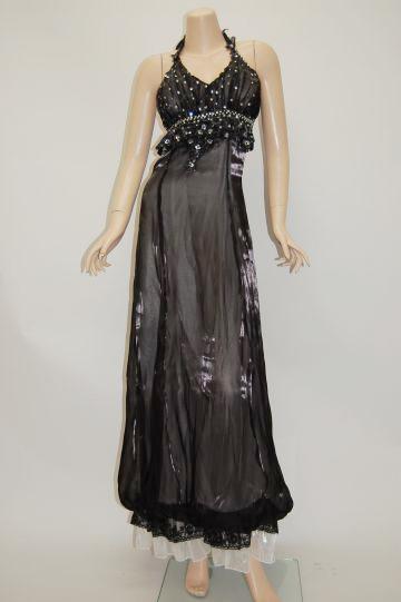 裾ふわスパンコール ロングドレス