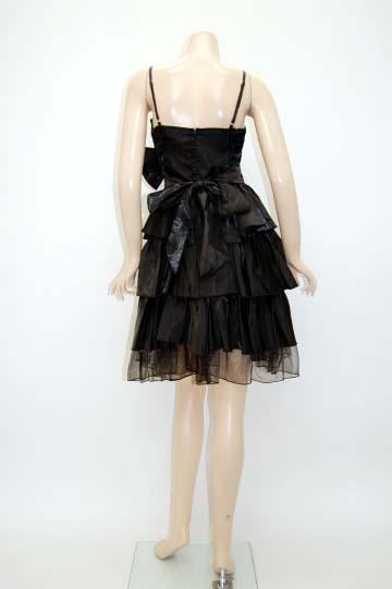 三段フリルリボン付き ショートドレス