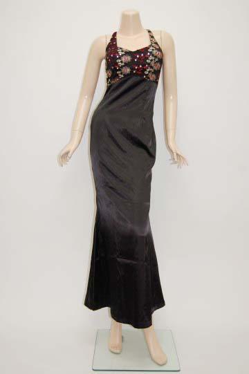 薔薇刺繍入り チャイナ風 ロング ドレス