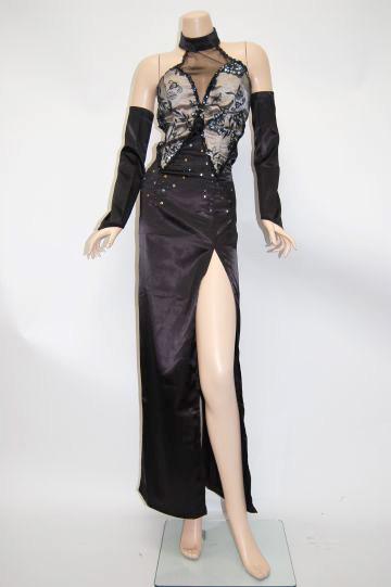 サテンゴージャス刺繍 ロングドレス