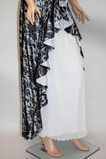 大胆カットフリルレース ロングドレス