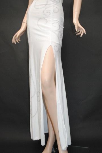 スタッズ模様 背中スピンドル ロングドレス