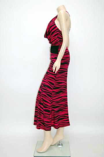 ゼブラカラーセクシーリング ロングドレス