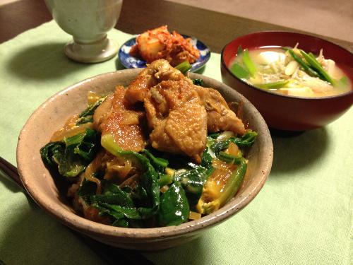 Mar18_鶏肉とちじみほうれん草とじ丼